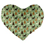 Reindeer Tree Forest Art Large 19  Premium Heart Shape Cushions Front