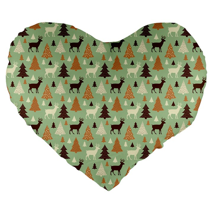 Reindeer Tree Forest Art Large 19  Premium Heart Shape Cushions