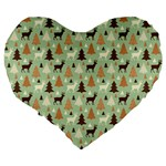 Reindeer Tree Forest Art Large 19  Premium Heart Shape Cushions Back