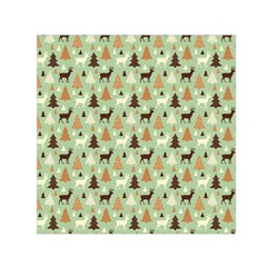 Reindeer Tree Forest Art Small Satin Scarf (square) by patternstudio