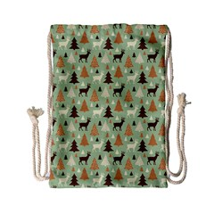 Reindeer Tree Forest Art Drawstring Bag (small) by patternstudio