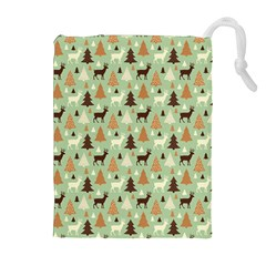 Reindeer Tree Forest Art Drawstring Pouches (extra Large) by patternstudio