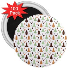 Reindeer Christmas Tree Jungle Art 3  Magnets (100 Pack) by patternstudio