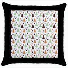 Reindeer Christmas Tree Jungle Art Throw Pillow Case (black) by patternstudio