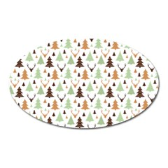Reindeer Christmas Tree Jungle Art Oval Magnet by patternstudio