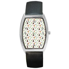 Reindeer Christmas Tree Jungle Art Barrel Style Metal Watch by patternstudio