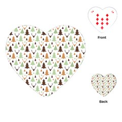 Reindeer Christmas Tree Jungle Art Playing Cards (heart)  by patternstudio