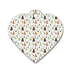 Reindeer Christmas Tree Jungle Art Dog Tag Heart (one Side) by patternstudio