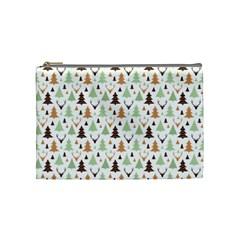 Reindeer Christmas Tree Jungle Art Cosmetic Bag (medium)  by patternstudio