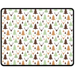 Reindeer Christmas Tree Jungle Art Fleece Blanket (medium)  by patternstudio