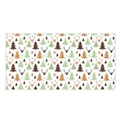 Reindeer Christmas Tree Jungle Art Satin Shawl by patternstudio