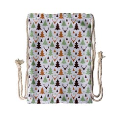 Reindeer Christmas Tree Jungle Art Drawstring Bag (small) by patternstudio
