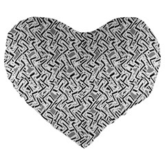 Wavy Intricate Seamless Pattern Design Large 19  Premium Heart Shape Cushions by dflcprints