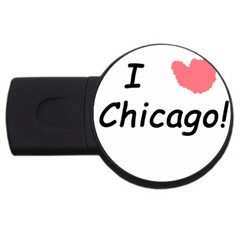 I Heart Chicago  Usb Flash Drive Round (4 Gb) by SeeChicago