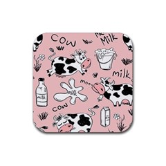 Fresh Milk Cow Pattern Rubber Coaster (square)  by allthingseveryday