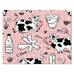 Fresh Milk Cow Pattern Rectangular Jigsaw Puzzl by allthingseveryday