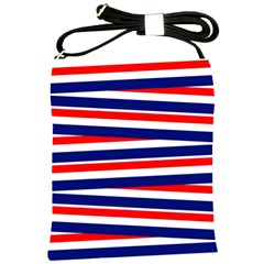Red White Blue Patriotic Ribbons Shoulder Sling Bags by Celenk