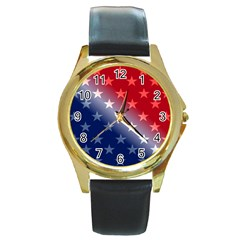 America Patriotic Red White Blue Round Gold Metal Watch by Celenk