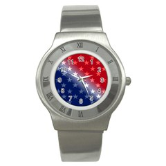 America Patriotic Red White Blue Stainless Steel Watch by Celenk