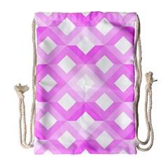 Geometric Chevrons Angles Pink Drawstring Bag (large) by Celenk