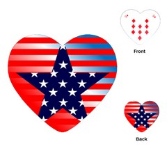 Patriotic American Usa Design Red Playing Cards (heart)  by Celenk