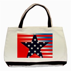 Patriotic American Usa Design Red Basic Tote Bag by Celenk