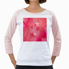 Pink Hearts Pattern Girly Raglans