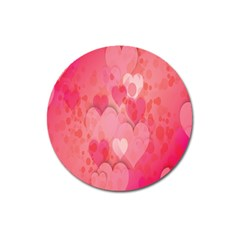 Pink Hearts Pattern Magnet 3  (round)