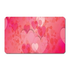 Pink Hearts Pattern Magnet (rectangular) by Celenk