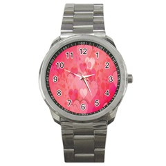 Pink Hearts Pattern Sport Metal Watch by Celenk