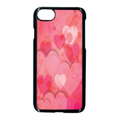 Pink Hearts Pattern Apple Iphone 8 Seamless Case (black) by Celenk