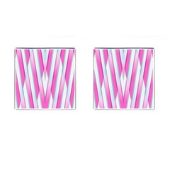 Geometric 3d Design Pattern Pink Cufflinks (square) by Celenk