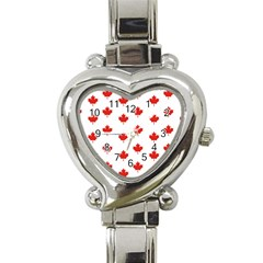 Maple Leaf Canada Emblem Country Heart Italian Charm Watch by Celenk
