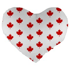 Maple Leaf Canada Emblem Country Large 19  Premium Flano Heart Shape Cushions by Celenk