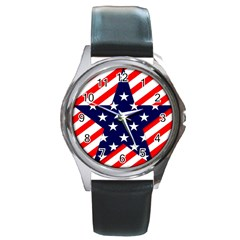 Patriotic Usa Stars Stripes Red Round Metal Watch by Celenk