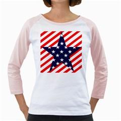 Patriotic Usa Stars Stripes Red Girly Raglans