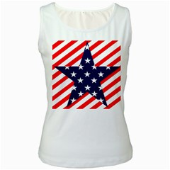 Patriotic Usa Stars Stripes Red Women s White Tank Top by Celenk