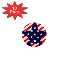 Patriotic Usa Stars Stripes Red 1  Mini Buttons (10 pack)