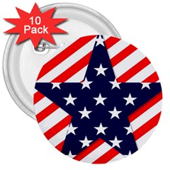 Patriotic Usa Stars Stripes Red 3  Buttons (10 Pack)  by Celenk