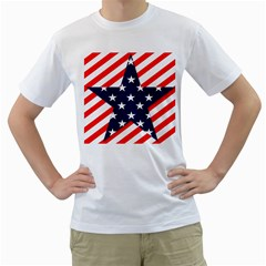 Patriotic Usa Stars Stripes Red Men s T Shirt (white) (two Sided) by Celenk
