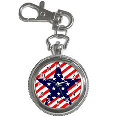Patriotic Usa Stars Stripes Red Key Chain Watches by Celenk