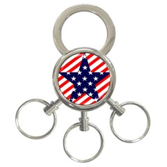 Patriotic Usa Stars Stripes Red 3 Ring Key Chains by Celenk