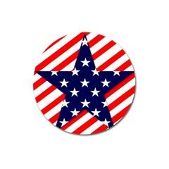 Patriotic Usa Stars Stripes Red Magnet 3  (Round)