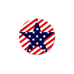 Patriotic Usa Stars Stripes Red Golf Ball Marker