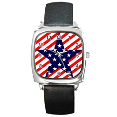 Patriotic Usa Stars Stripes Red Square Metal Watch by Celenk