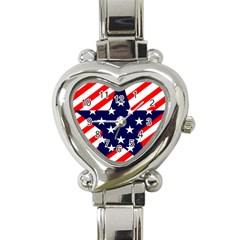Patriotic Usa Stars Stripes Red Heart Italian Charm Watch