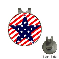 Patriotic Usa Stars Stripes Red Hat Clips with Golf Markers