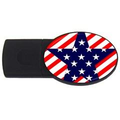 Patriotic Usa Stars Stripes Red USB Flash Drive Oval (4 GB)