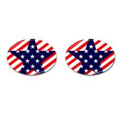 Patriotic Usa Stars Stripes Red Cufflinks (Oval)