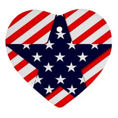 Patriotic Usa Stars Stripes Red Heart Ornament (two Sides) by Celenk